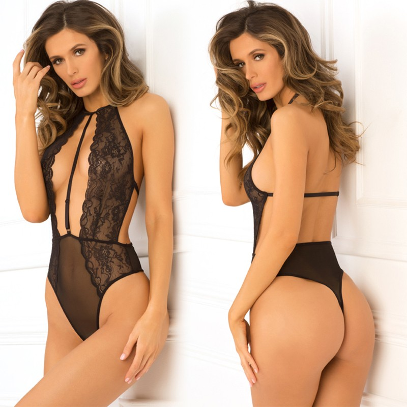 Hot Pursuit Lace Bodysuit Black S/M