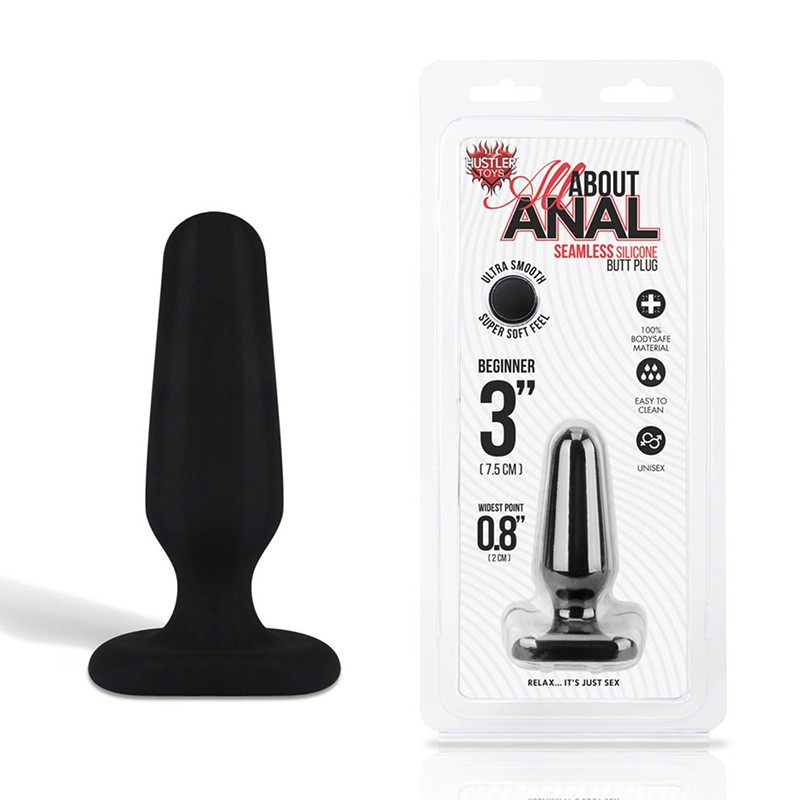 Hustler All About Anal Seamless Silicone Butt Plug 3in Black