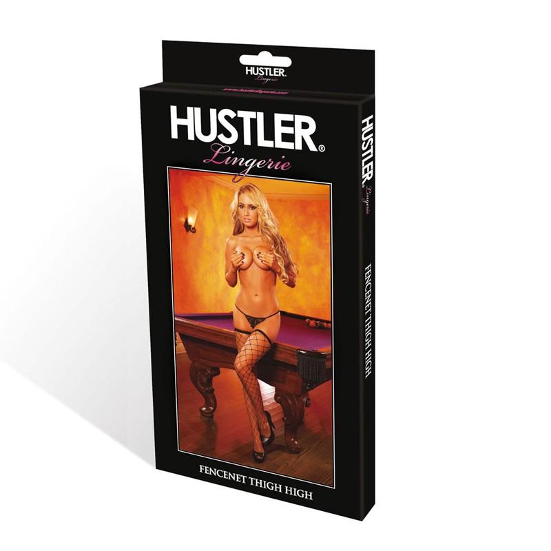 Hustler Diamond Fencenet Thigh High Black