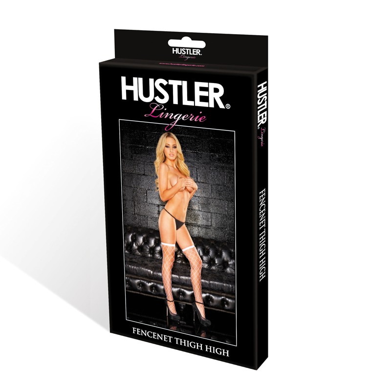 Hustler Diamond Fencenet Thigh High White