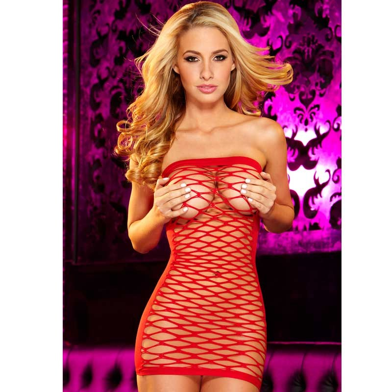 Hustler Fencenet Micro Mini Dress Red