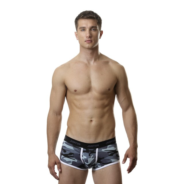 Justus Boyz Fitted Trunks Blue Camo with Gray Stitching (XL/Camo)