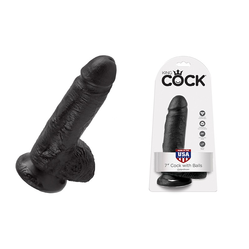 King Cock - 7in Cock W/ Balls Black