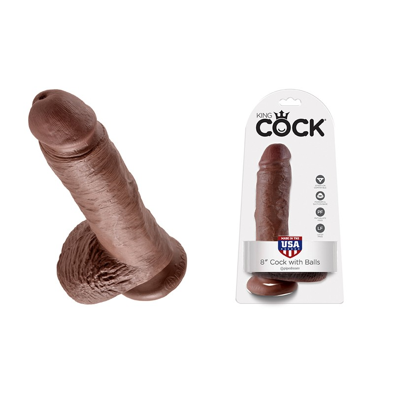 King Cock - 8in Cock W/ Balls Brown
