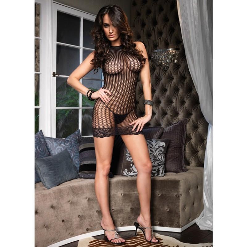 Lace Trimmed Crochet Net Halter Mini Dress O/S Black