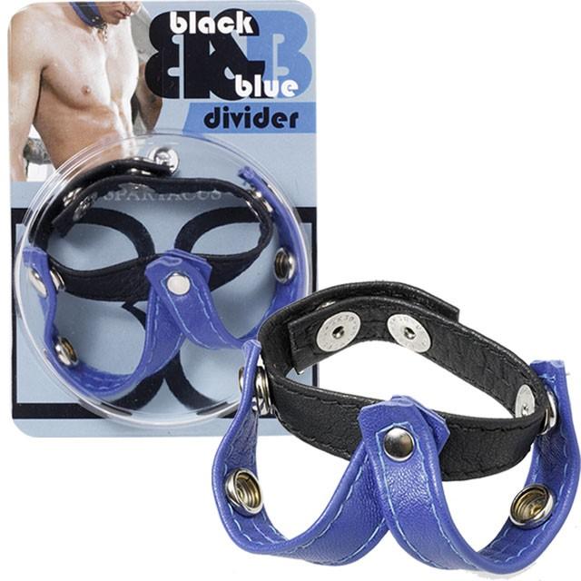 Leather V- Style Divider (Black/Blue)