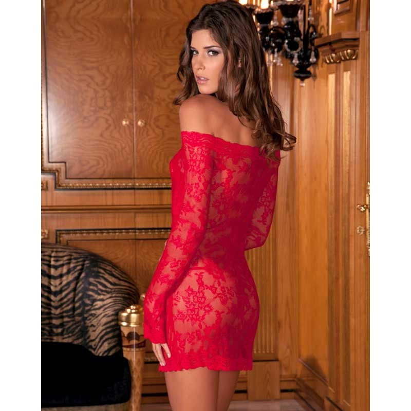 Long Sleeve Chemise Dress Set Red Os