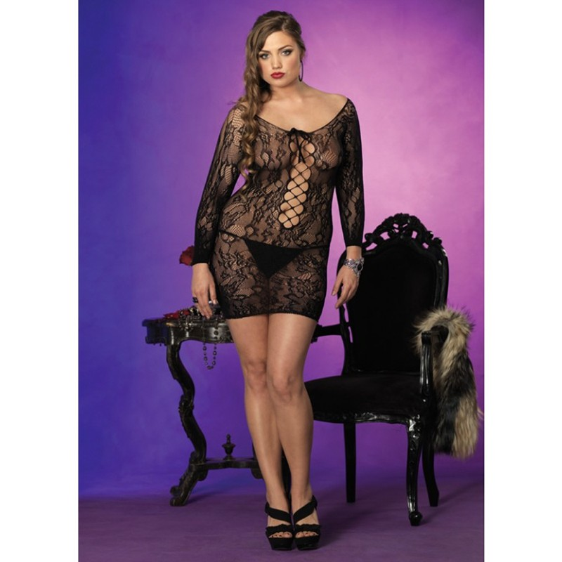 Long Sleeved Floral Lace Mini Dress w/Lace Up Net Detail Plus Size Black