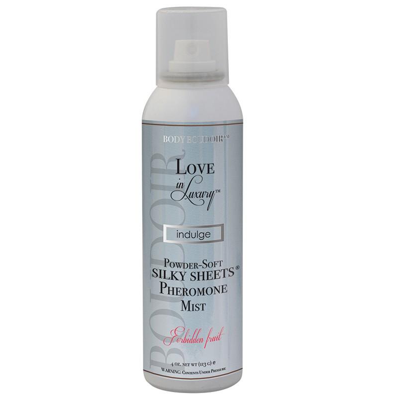 Love In Luxury, Pheromone Silky Sheets Mist, Forbidden Fruit, 4 Oz Net Wt., Aerosol Can