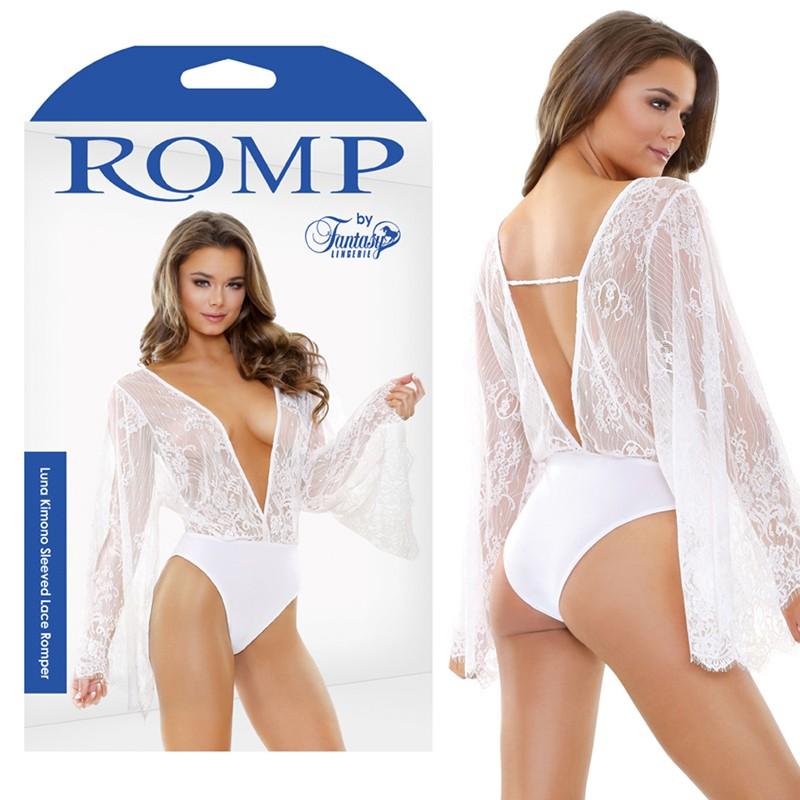 Luna Kimomo Sleeved Lace Romper S/M