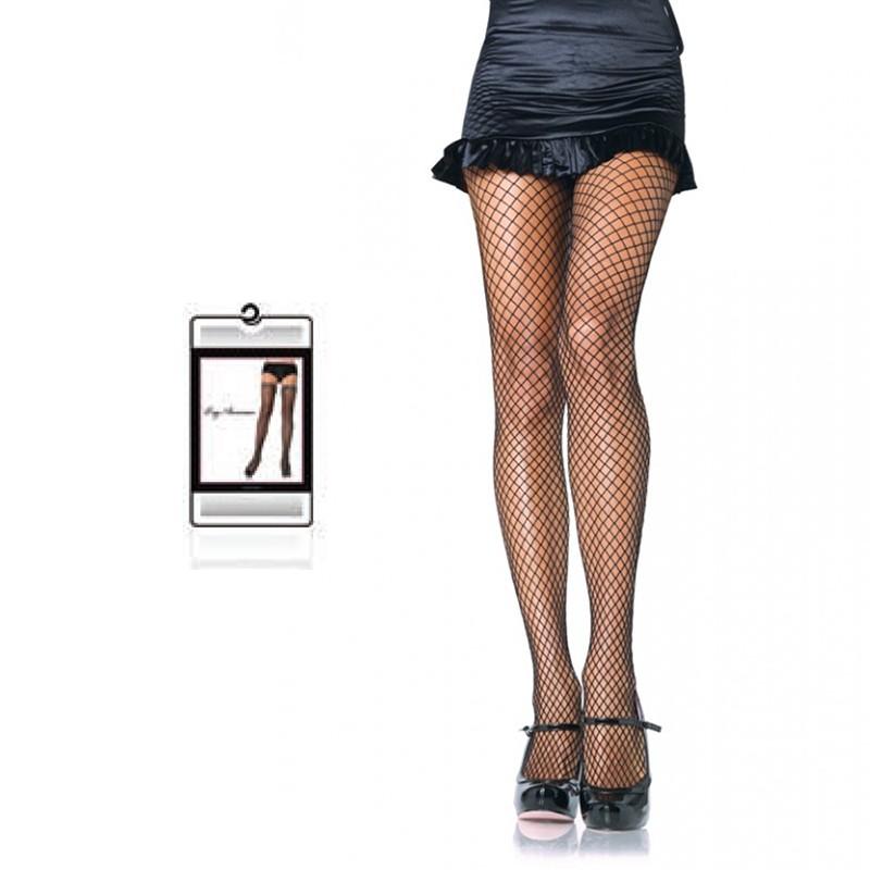 Lycra Fishnet Panty Hose 1X-2X Black