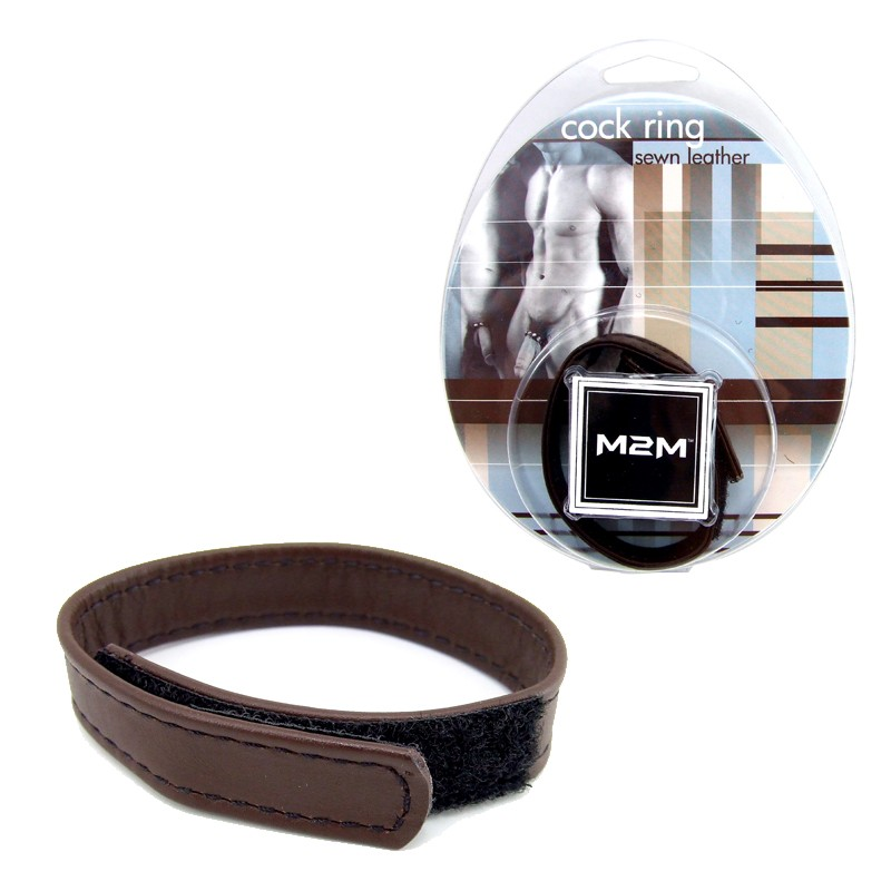 M2M Cock Ring Leather Velcro Brown