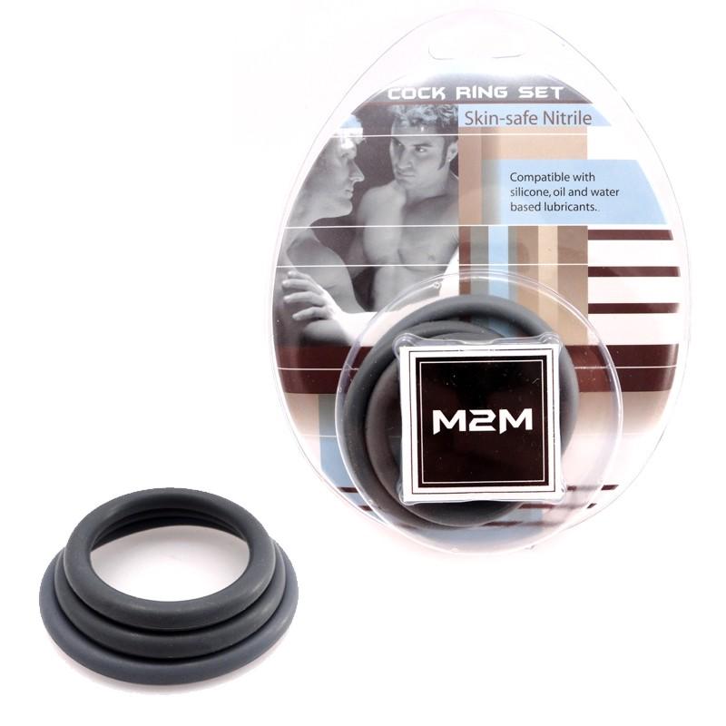 M2M Cock Ring Nitrile 3 pc Set Grey