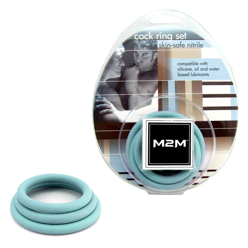 M2M Cock Ring Nitrile 3 pc Set Sky Blue