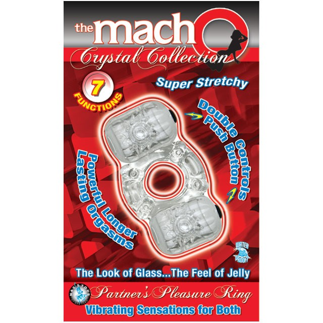 Macho Crystal Collection Dual Vibrating Cock Ring (Clear)