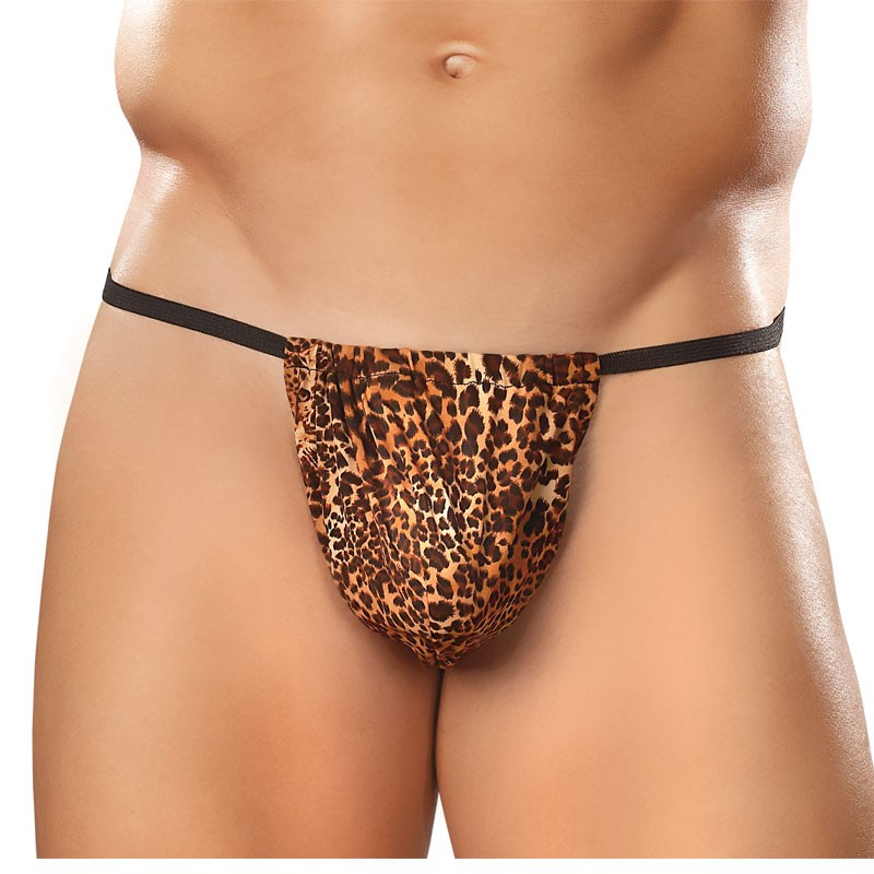 Male Power Animal Posing Strap Brown Leopard OS