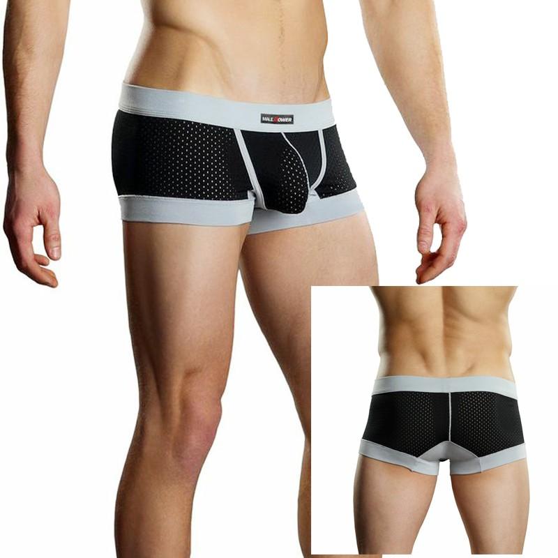 Male Power Athletic Mesh Sport Mini Short Black Med