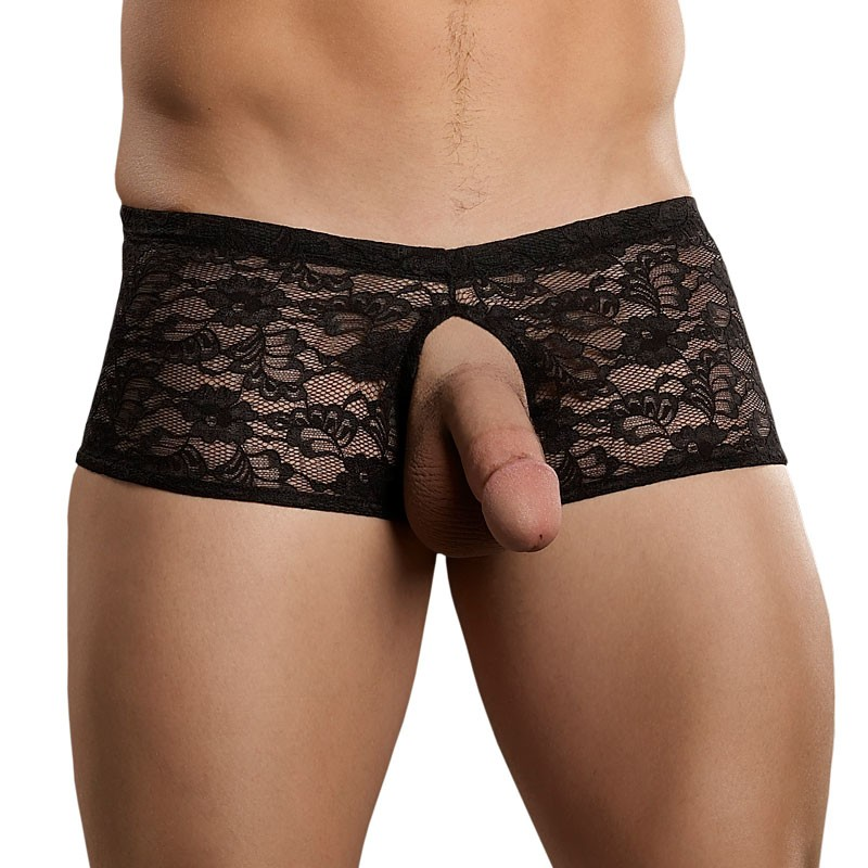 Male Power Stretch Lace Double Pleasure Short Black L/XL