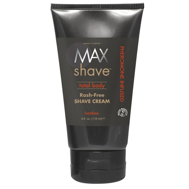Max Shave Total Body Shave Cream w/Pheromones, Bamboo 4 fl oz Tube