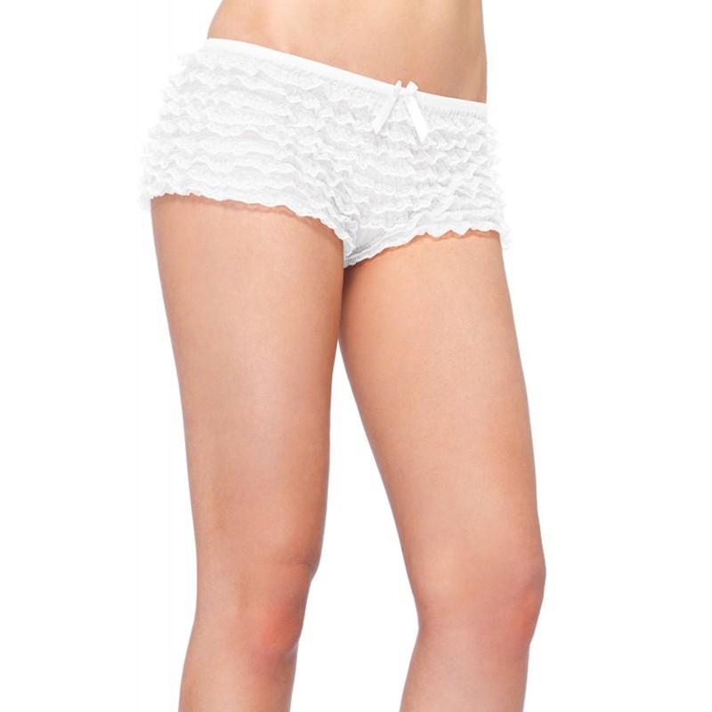 Micromesh Lace Ruffle Tanga Short O/S White