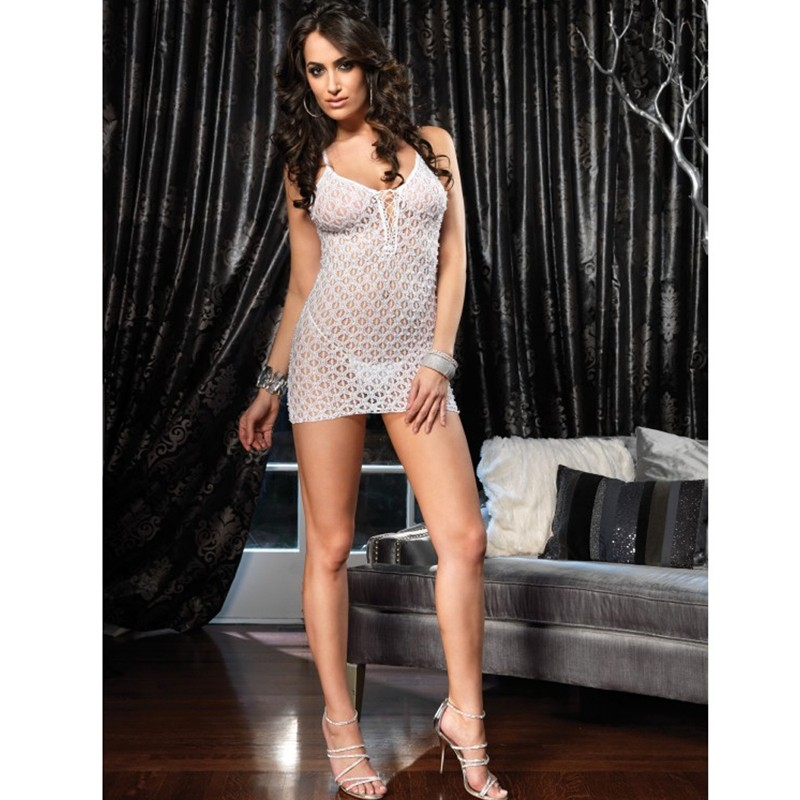 Mini Dress W/Lace Up Front & G-String O/S White
