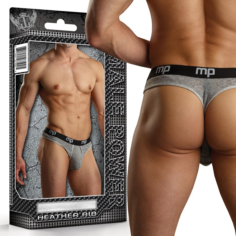 MP Heather Rib Enhancer Thong Grey Small