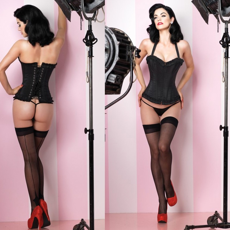 Natalie Corset,Taffeta Halter Silhouette w/Boning,Zipper Front Closu Medium Black