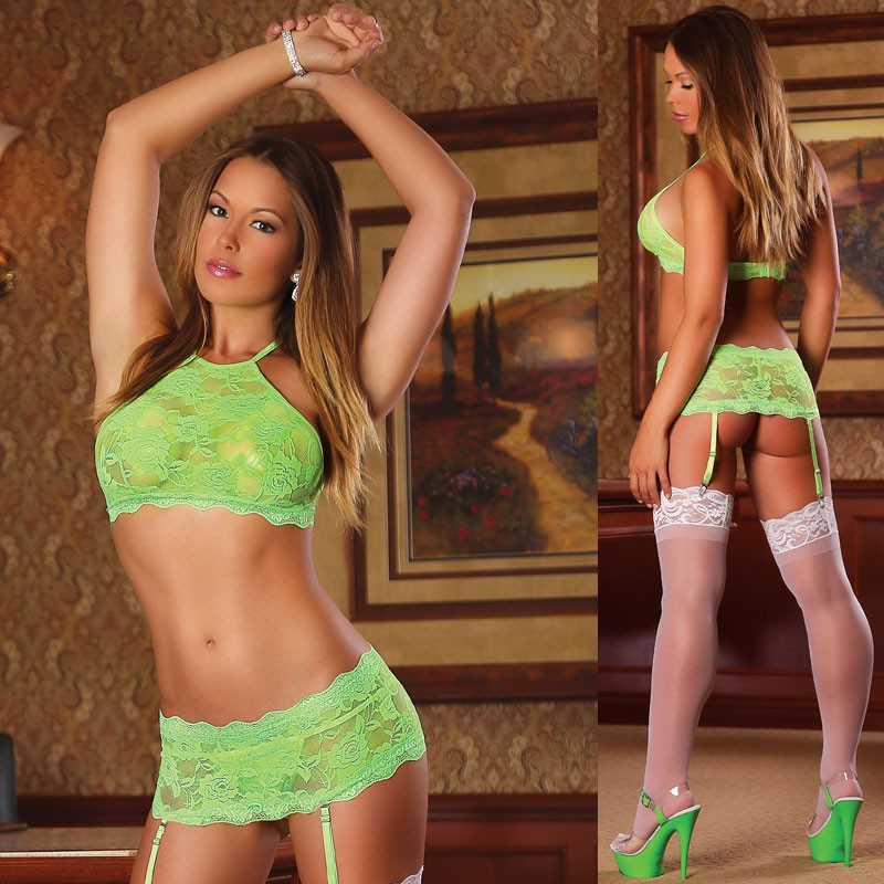 Neon Lace Crop Top, Garter Skirt & G-string Lime L/X