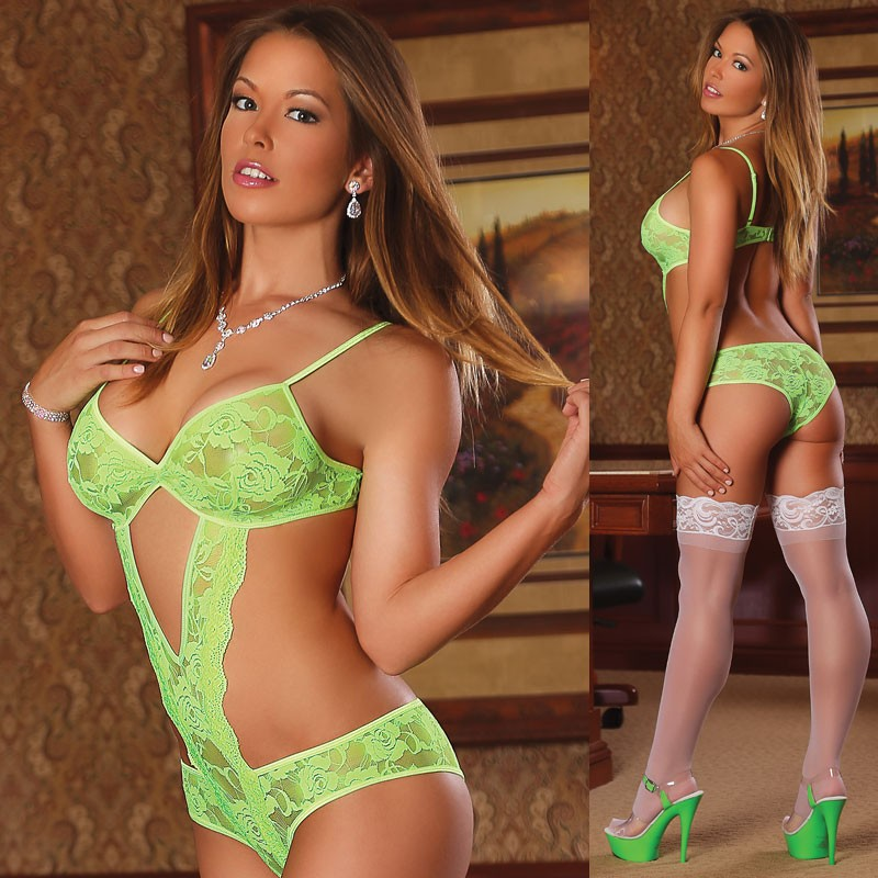 Neon Lace Cutout Teddy Lime L/X
