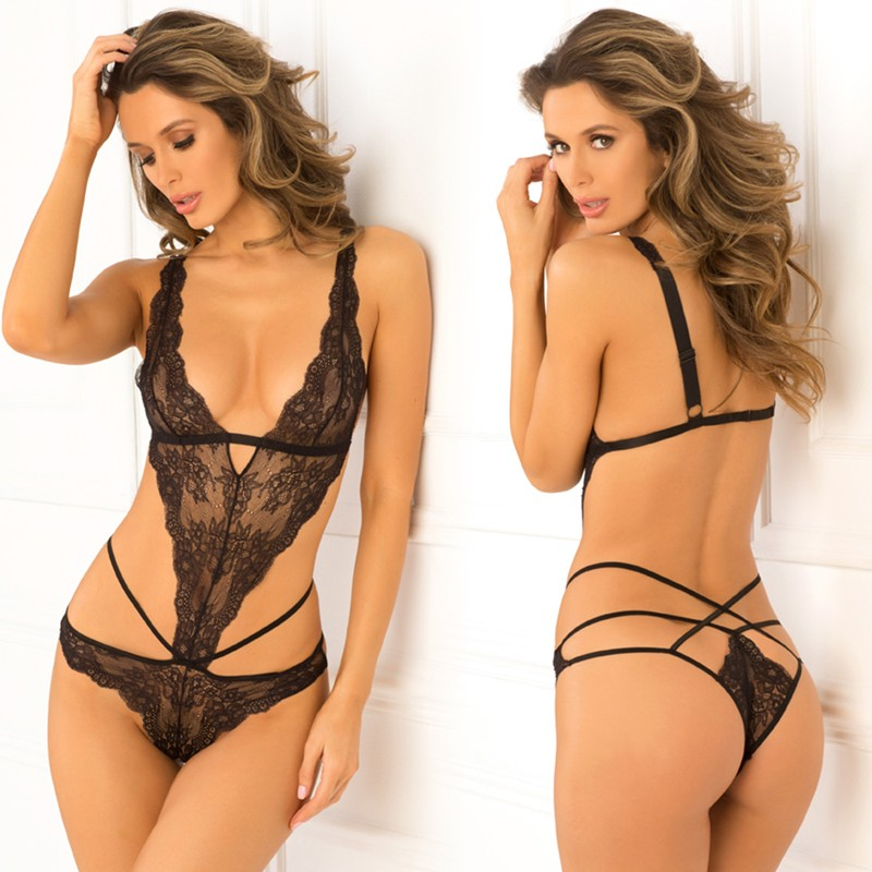 No Mercy Lace Cage Teddy Black M/L