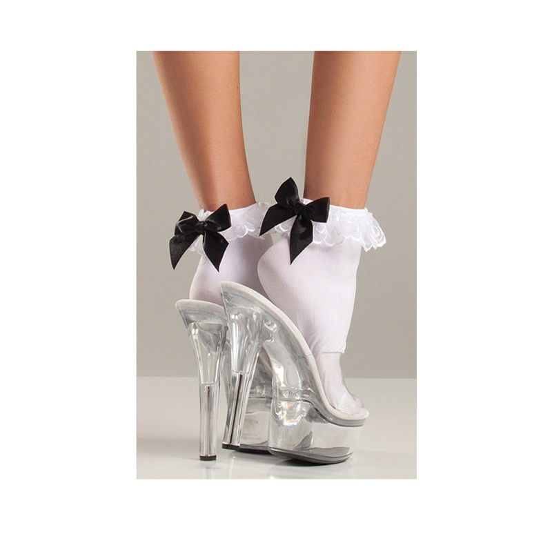 Nylon Anklet W/Ruffle Top And Satin Bow O/S White