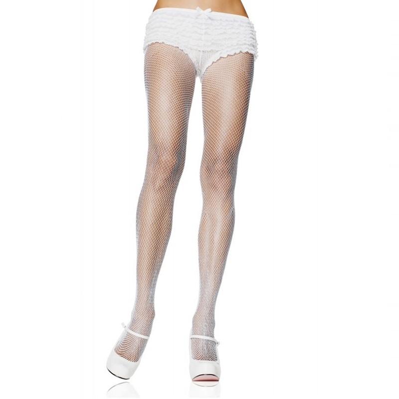 Nylon Fishnet Pantyhose O/S White