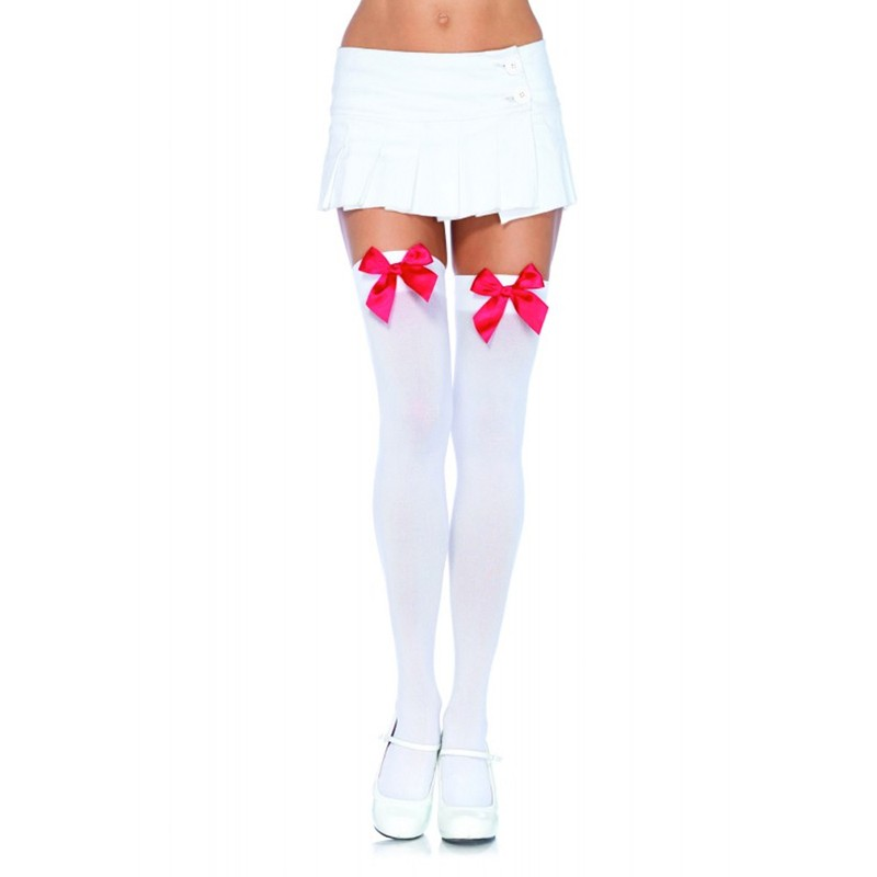 Nylon Over The Knee w/Bow O/S White/Red