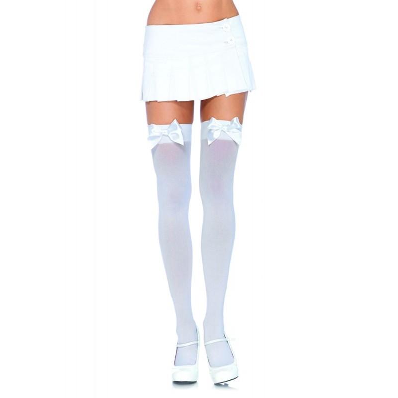 Nylon Over The Knee w/Bow Plus Size White