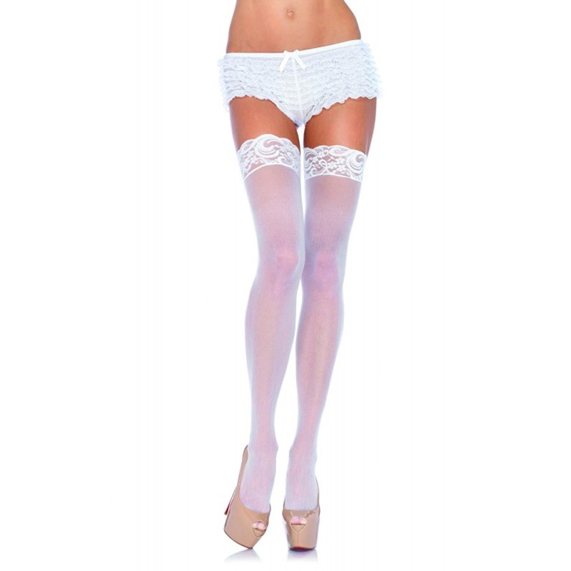 Nylon Sheer Thigh High w/Lace Top Plus Size White