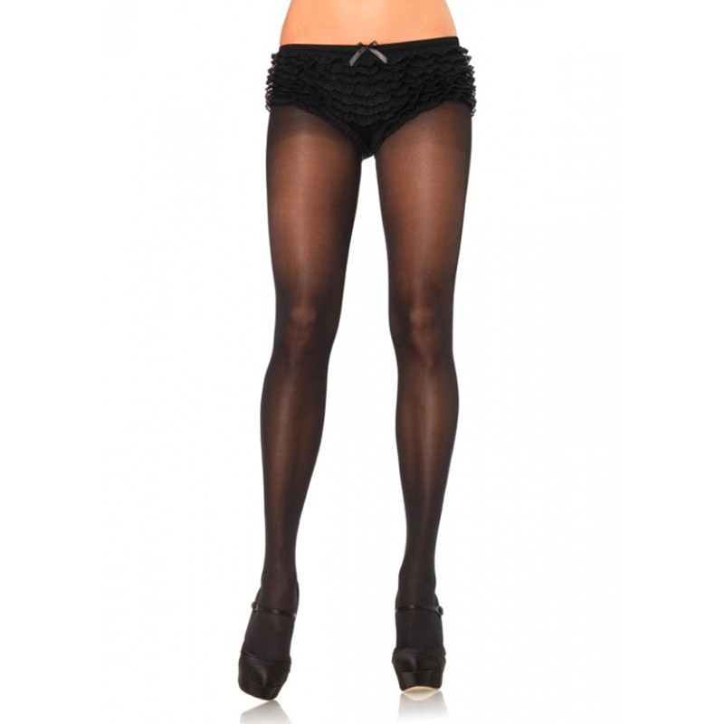 Opaque Sheer To Waist Tights w/Cotton Crotch O/S Black