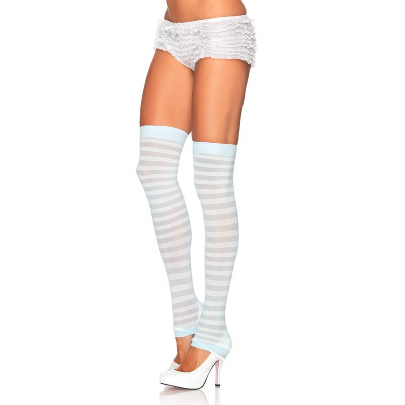 Opaque Stripe Leg Warmer O/S White/L.Blue