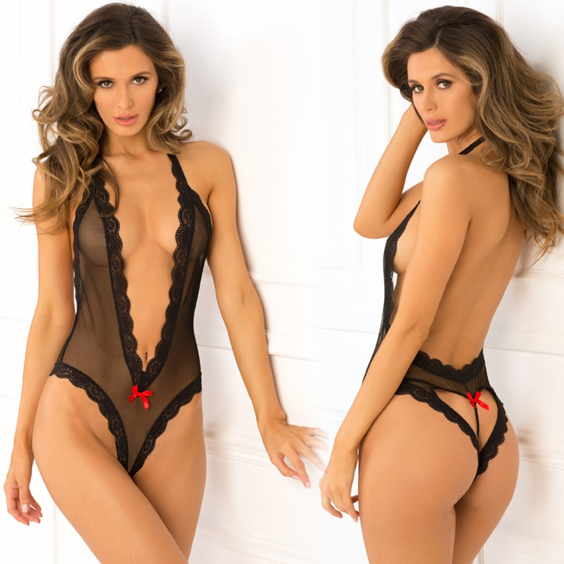 Open Back Lace & Net Teddy Black S/M