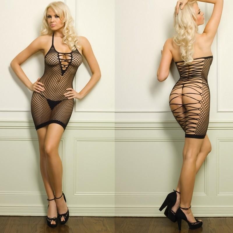 Oval Net Halter Dress w/Strappy Open Back O/S Black