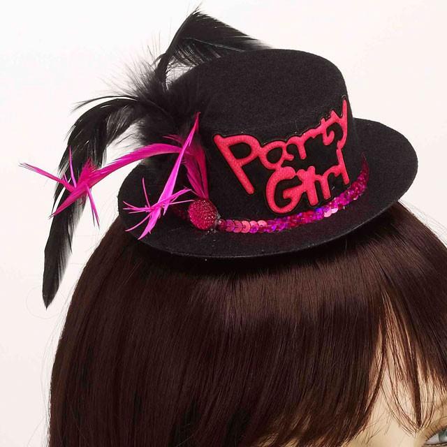 Party Girl Mini Hat Hair Clip-Blk