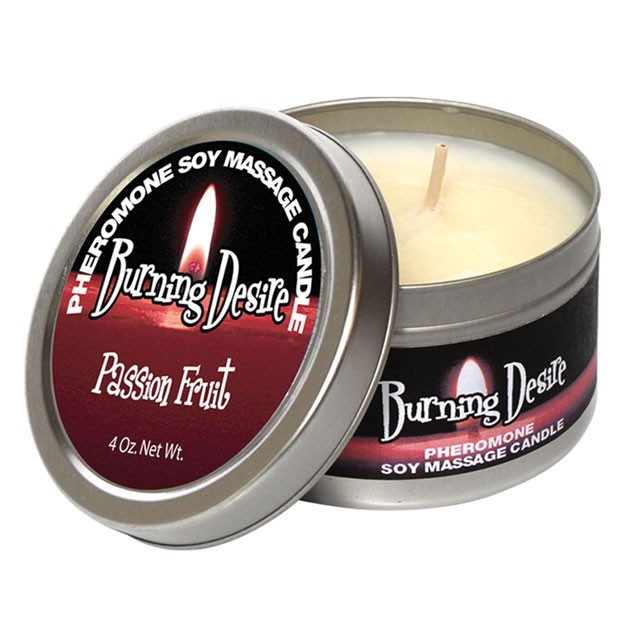 Pheromone Soy Massage Candle, Burning Desire, Passion Fruit, 4 Oz Net Wt., Tin