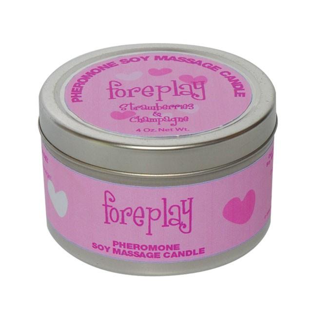 Pheromone Soy Massage Candle, Foreplay, Strawberry & Champagne, 4 Oz Net Wt., Tin