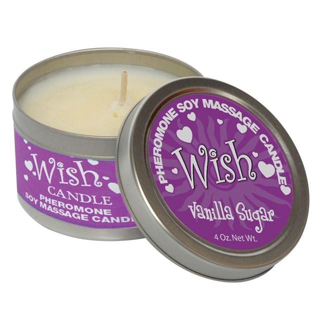 Pheromone Soy Massage Candle, Wish, Vanilla Sugar, 4 Oz Net Wt., Tin