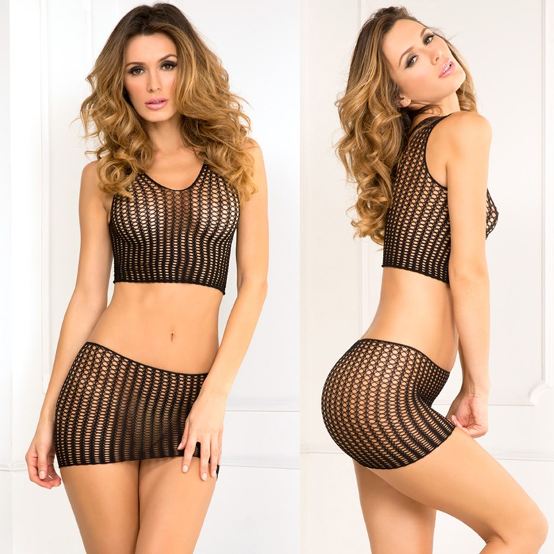 Quarter Crochet Net Mini Skirt Set Black O/S