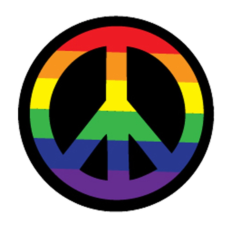 Rainbow Peace Sign 3in Button