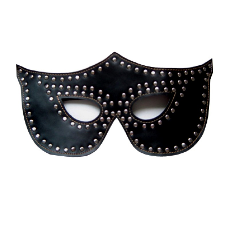 Rapture Black Leather Mask w/Silver Rivets