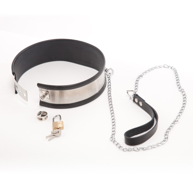 Rapture Stainless Steel Band Collar w/Leash Large