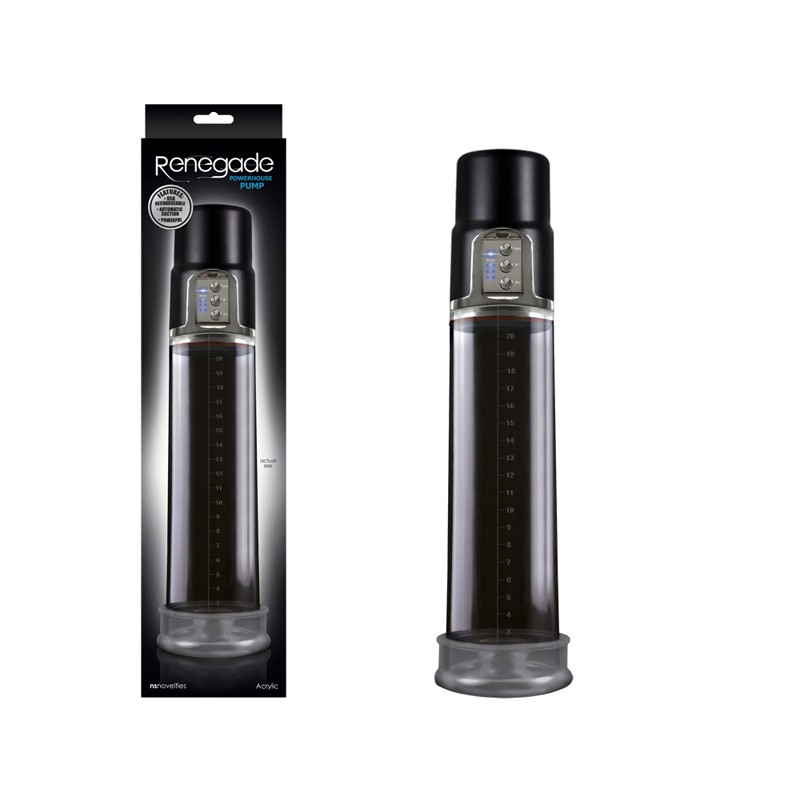 Renegade Powerhouse Pump,USB Rechargeable,3 Levels Of Suction-Black