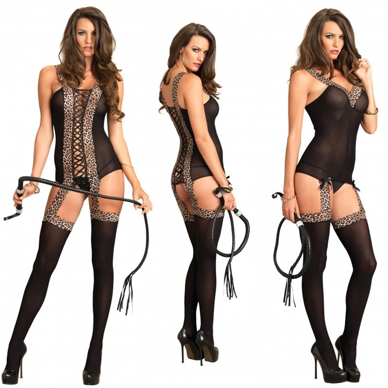 Reversible Opaque Suspender Bodystocking O/S Black