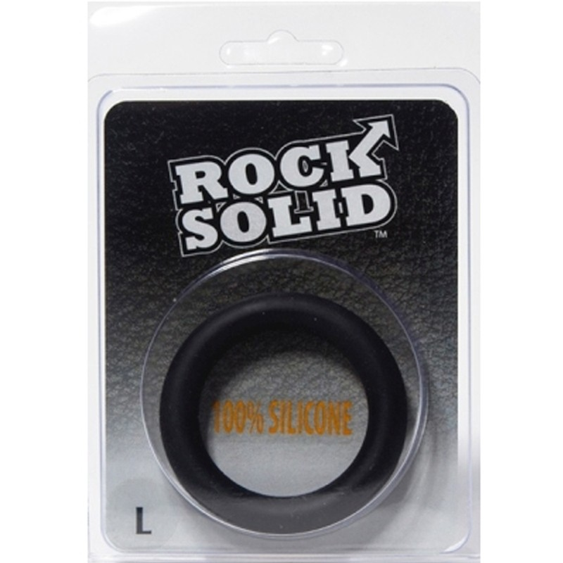Rock Solid Silicone Black C Ring, Large (2in) in a Clamshell